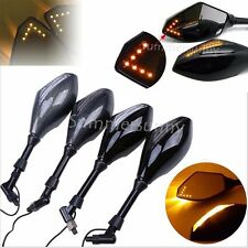 Motorcycle Indicator Rearview Side Mirrors & Integrated LED Turn Signals Mirror