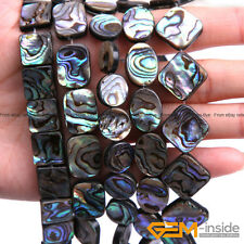 "Natural Abalone Shell Gemstone Flatback Beads For Jewellery Making 15"" Wholesale"
