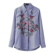 Women's Just cavalli Embroidery Flowers Casual Long Sleeve Stripe T-Shirt Tops