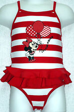 BNWT Baby Girls Red/White Minnie Mouse Swimming Costume Swimsuit 18-24 months