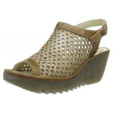Womens Fly London Yuti 734Fly Laser Cut Out Sling Back Leather Wedge Sandal Size