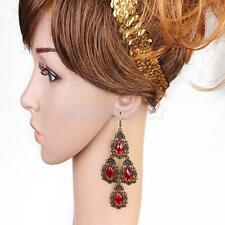 Fashion Vintage Lady Women Rhinestone Long Dangle Drop Ear Hook Earrings Jewelry