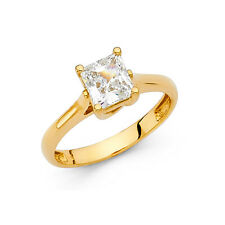 14K Solid Yellow Gold 1 ct Princess Cut Diamond Solitaire Engagement Ring
