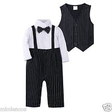 Baby Boy Jumpsuit Romper 2 Pc. Long Sleeve Clothing Outfit Set w/Vest,Black PinS