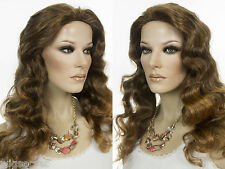 Long Skin Top Wavy Curly Blonde Brunette Red Wigs Natural Front Hairline