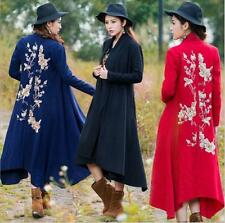 New Womens Floral Embroider Long Trench Coat Wool Windbreaker Outwear Jacket SZ
