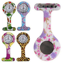 PATTERNED SILICONE NURSES BROOCH TUNIC FOB POCKET WATCH STAINLESS DIAL CLASSIC
