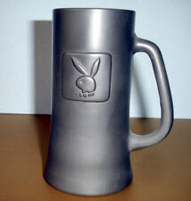 Vintage Playboy Club Beer Mug Embossed Bunny on Charcoal Matte Finish Glass