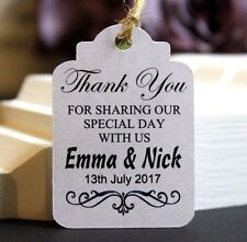 25 Personalised Wedding Thank you Gift Tags,Wedding Favor Luggage Labels TGS12