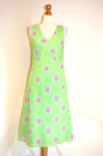 LADIES JOULES GREEN &PINK COTTON SPOTTY SUMMER,HOLIDAY,OCCASION DRESS UK12 VGC