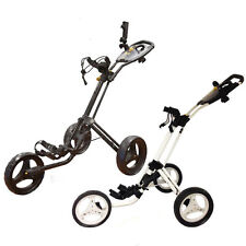 POWAKADDY TWINLINE 4, 3 WHEEL PUSH TROLLEY, WHITE OR BLACK, BRAND NEW