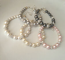 Wedding Glass pearl With Silver Diamante Bridesmaids Bracelet Gifts