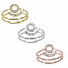 Halo CZ  Stackable Ring Set - Gold - Sterling Silver or Rose Gold