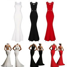 Noble Women Print Pack Hip Backless Slim Long Fishtail Dress Prom Party Dress