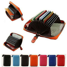 Men/Women's Genuine Leather Credit ID Card Holder Wallet Zipper Orgnazier Clutch