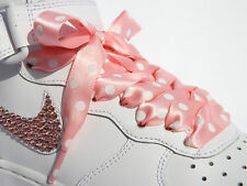 Coloured POLKA DOT Trainer Laces Shoelaces with LOGO Aglets 4 Blinged Trainers