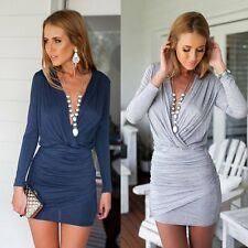 Sexy Cross V-Neck Bodycon Long Sleeve Women's Party Mini Dress Cocktail Clubwear