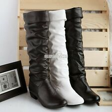 Synthetic Faux Leather Round Toe Women Knee High Boots Flat Shoes Fashion S0BZ01