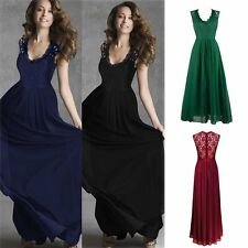 Hollow Halter Sexy Lace Sleeveless Dress Slim Formal Cocktail Maxi Party Ladies