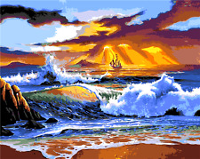 "16x20"" DIY Acrylic Paint By Number kit Oil Painting On Canvas Seaside Scenery 06"