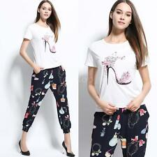 Women Slouchy T-shirt Round Neck Short Sleeve Print Pullover Casual Top Tee J4S6