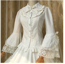 Vintage Victorian Lolita Gothic Princess Retro Lace Flare Sleeve Shirt Blouse