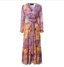 Top Women's Just Cavalli FLORAL Shirt Casual Long Sleeves Chiffon Dress 3size