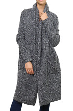 Coat long vest wool french terry wide streaked gray winter ARGENTINA GREY
