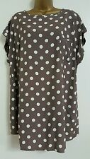 NEW ExAnn Harvey Plus Size 16-28 Polka Dot Spotted Taupe White Beige Top Blouse
