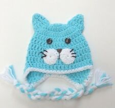 CROCHET KITTY CAT BABY EAR FLAP HAT knit infant toddler ADULT beanie photo prop