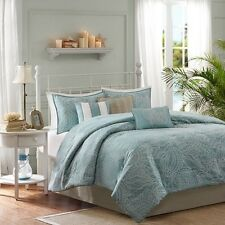 7pc Soft Blue White Coastal Comforter Set Shams Bed Skirt AND Pillows
