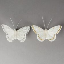 Beautiful Fabric Butterfly Decorations with clip on back white, gold or silver