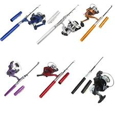 Mini Fibre Glass Aluminum Alloy Pocket Pen Fishing Rod Pole +Reel Silver CN T7E7