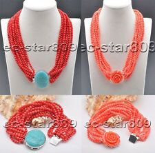 D0310 12Row 4mm Red & Pink round Coral bead Necklace Bracelet