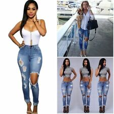 Women Ripped Destroyed Distressed Denim Jeans Skinny Slim Stretch Pants Ladies