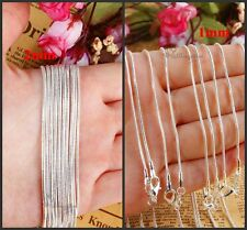 Hot Sale Lots 1mm/2mm Silver Plated Snake Necklace Chain 16''18''20''22''24''