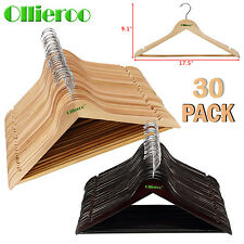 Ollieroo Wooden Wood Hangers 30 Solid Walnut Wood Clothes Coat Suit Dress Pant