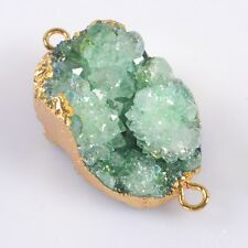 Uneven Green Agate Druzy Geode Connector Gold Plated T033345