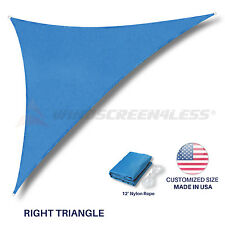 Sun Shade Sail Customize 8'' FT Triangle Blue Permeable UV Outdoor Canopy Awning