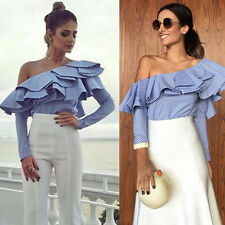 Women Off Shoulder Striped T-Shirt Summer Casual Loose Top Blouse Long Sleeve