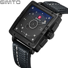 2017 GIMTO Luxury Square Quart Sport Watch Men Leather Waterproof Military Watch