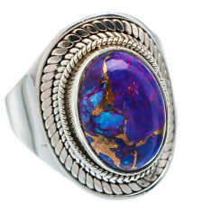 Pure 92.5 Solid Sterling Silver Ring with Purple Copper Turquoise Size 4-13 US