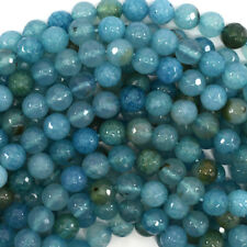 "Faceted Blue Crab Fire Agate Round Beads 15"" Strand 4mm 6mm 8mm 10mm 12mm"