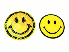 Happy Smile Yellow Sequins Dress Iron On Patches Smiley Face Appliques Backpacks