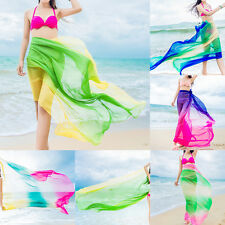Lady Colored Sheer Chiffon Cover Up Beach Swimwear Sarong Pareo Wrap Dress Scarf