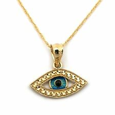 14k Yellow Gold Blue Enamel Diamond Cut Evil Eye Pendant Necklace -
