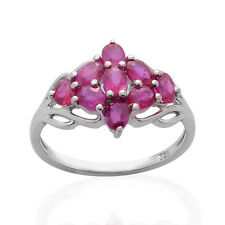 Pure 925 Solid Sterling Silver Genuine Pink Ruby Ring Size 8.5 (US)