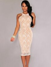 Sexy Chic Nude Illusion White Lace Racer Back Knee Length Cocktail Party Dress