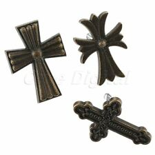 Antique Cross Handle Zinc Alloy Drawer Cabinet Cupboard Pull Knobs Single Hole