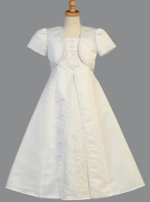 New Girls Beaded Satin A-Line White Dress with Bolero First Communion Formal USA
